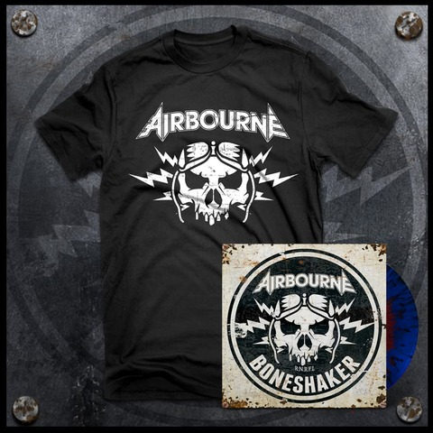 Boneshaker (Ltd. Bundle: Red & Blue Splatter LP + T-Shirt) von Airbourne - LP Bundle jetzt im Spinefarm Shop